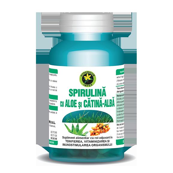 Capsule Spirulina cu Aloe si Catina Alba - Vitamine si Suplimente Naturale - Hypericum Impex