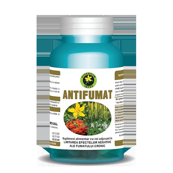 Capsule Antifumat produse de Hypericum Impex, Supliment alimentar cu rol adjuvant în limitarea efectelor negative ale fumatului cronic.