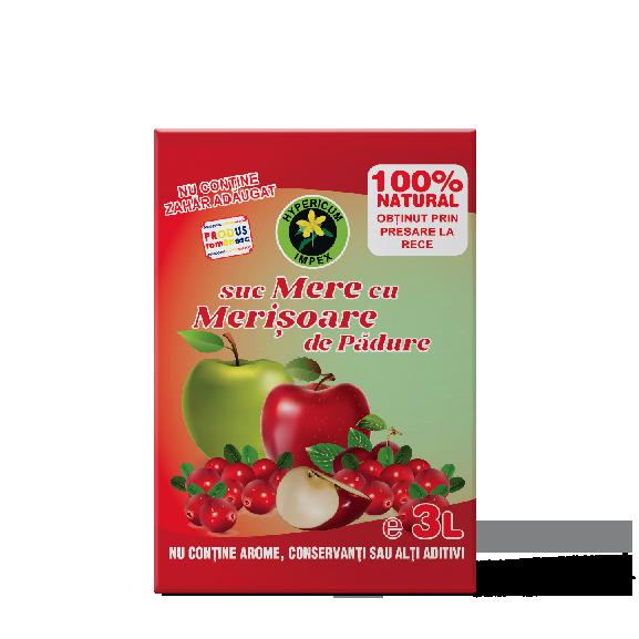 Suc de Mere cu Merisoare de Padure - Bag in Box 3L - Siropuri si Sucuri Naturale -Hypericum Impex