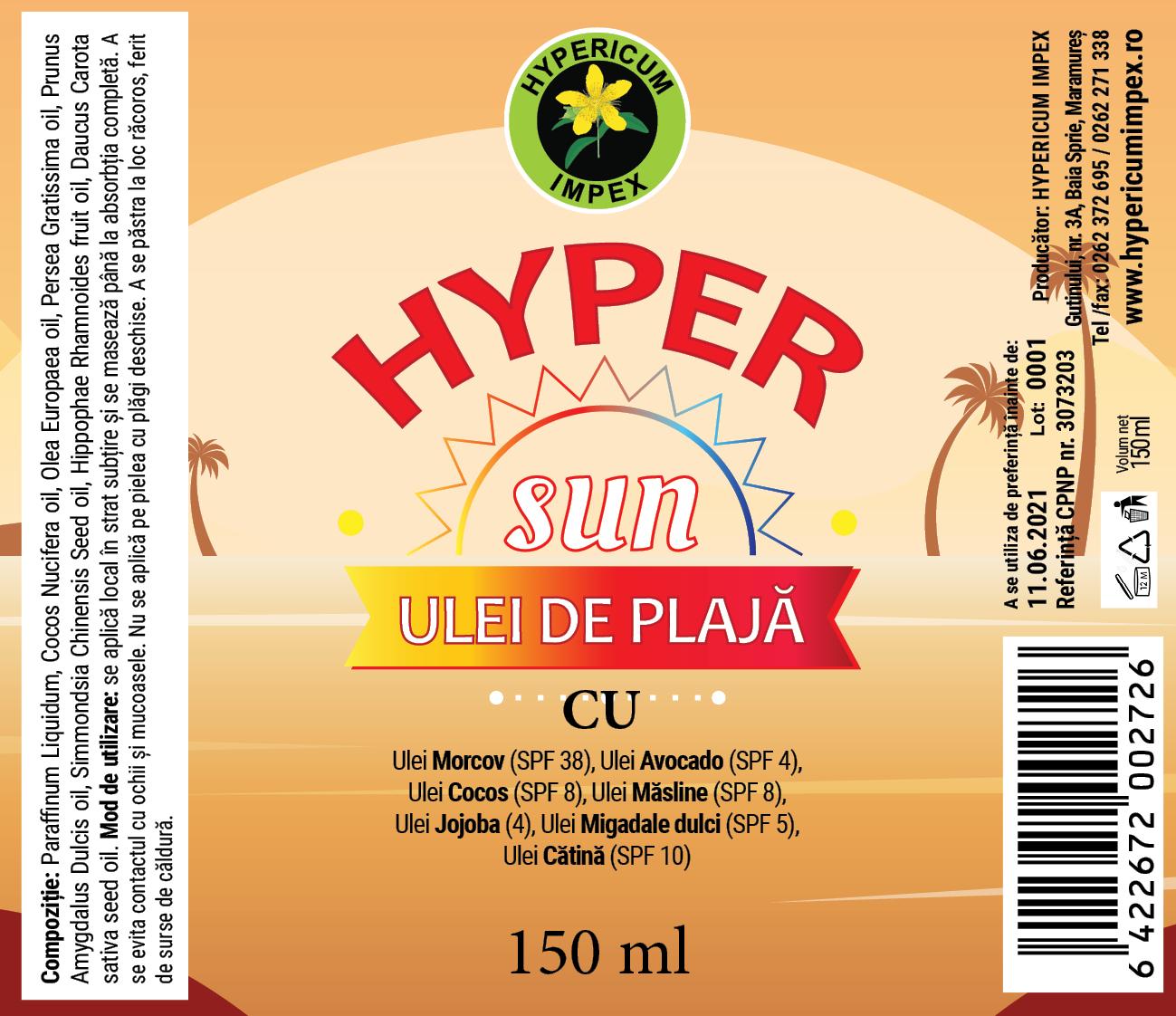 Eticheta Hyper SUN Ulei de plaja